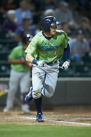 Conner Capel (1) of the Lynchburg Hillcats hustles down the first base line against the Winston-Salem Dash at BB&T Ballpark on May 1, 2018 in Winston-Salem, North Carolina. The Dash defeated the Hillcats 9-0. (Brian Westerholt/Four Seam Images)