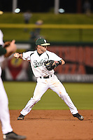 USF Bulls infielder Kyle Teaf (3) throws to first during a game against the Louisville Cardinals on February 14, 2015 at Bright House Field in Clearwater, Florida.  Louisville defeated USF 7-3.  (Mike Janes/Four Seam Images)