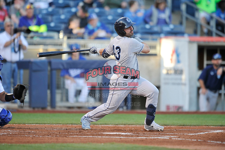 Corpus Christi Hooks designated hitter Lorenzo Quintana (43) swings at a pitch against the Tulsa Drillers at Oneok Stadium on May 4, 2019 in Tulsa, Oklahoma.  The Hooks won 9-7.  (Dennis Hubbard/Four Seam Images)