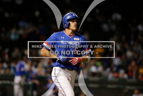 Mike Siani (6) of William Penn High School in Glenside, Pennsylvania during the Under Armour All-American Game presented by Baseball Factory on July 29, 2017 at Wrigley Field in Chicago, Illinois.  (Mike Janes/Four Seam Images)