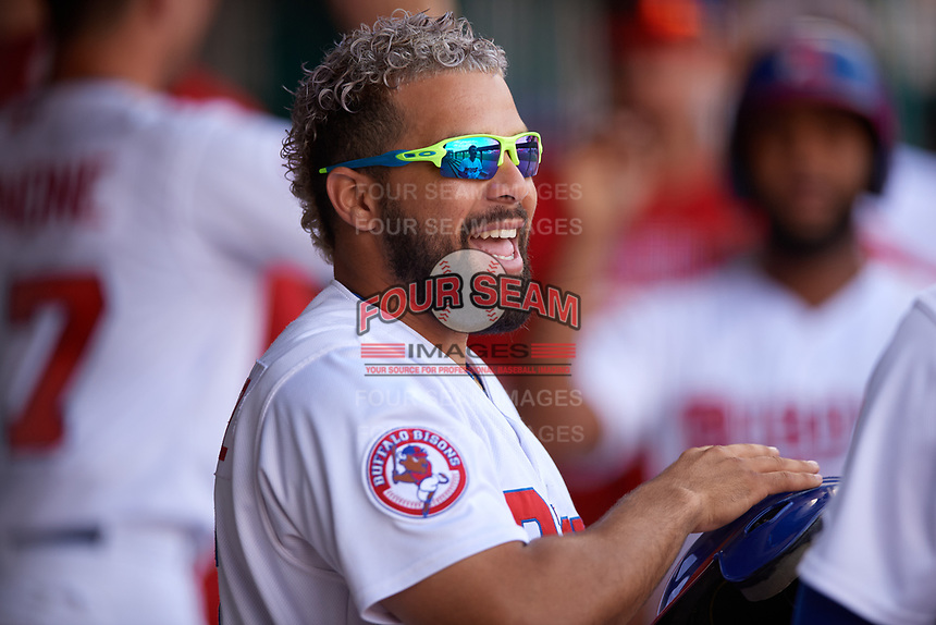 Buffalo Bisons Michael De La Cruz (55) during an International League game against the Syracuse Mets on June 29, 2019 at Sahlen Field in Buffalo, New York.  Buffalo defeated Syracuse 9-3.  (Mike Janes/Four Seam Images)