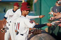 Mahoning Valley Scrappers Brayan Rocchio (11) signs autographs before a NY-Penn League game against the State College Spikes on August 29, 2019 at Eastwood Field in Niles, Ohio.  State College defeated Mahoning Valley 8-1.  (Mike Janes/Four Seam Images)