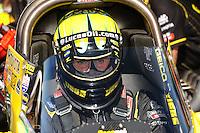 Aug. 21, 2011; Brainerd, MN, USA: NHRA top fuel dragster driver Morgan Lucas during the Lucas Oil Nationals at Brainerd International Raceway. Mandatory Credit: Mark J. Rebilas-