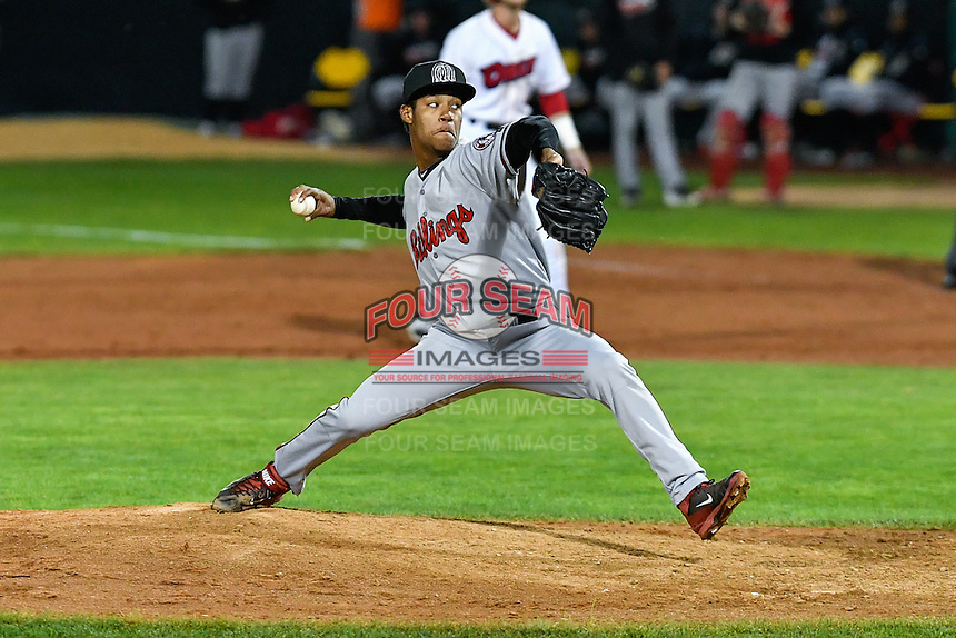 Dauri Moreta (27) of the Billings Mustangs delivers a pitch to the plate against the Orem Owlz in Game 2 of the Pioneer League Championship at Home of the Owlz on September 16, 2016 in Orem, Utah. Orem defeated Billings 3-2 and are the 2016 Pioneer League Champions. (Stephen Smith/Four Seam Images)