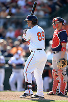 Baltimore Orioles first baseman Christian Walker (89) during a spring training game against the Boston Red Sox on March 8, 2014 at Ed Smith Stadium in Sarasota, Florida.  Baltimore defeated Boston 7-3.  (Mike Janes/Four Seam Images)
