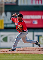 29 July 2018: Batavia Muckdogs pitcher Alberto Guerrero on the mound against the Vermont Lake Monsters at Centennial Field in Burlington, Vermont. The Lake Monsters defeated the Muckdogs 4-1 in NY Penn League action. Mandatory Credit: Ed Wolfstein Photo *** RAW (NEF) Image File Available ***