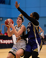 Alison Gorrell of Newcastle Eagles drives to the basket during the WBBL Championship match between Sevenoaks Suns and Newcastle Eagles at Surrey Sports Park, Guildford, England on 20 March 2021. Photo by Liam McAvoy