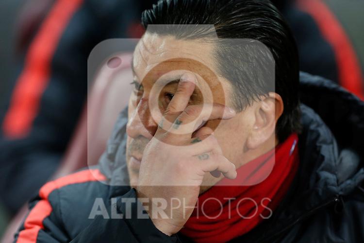 Atletico de Madrid´s second coach Mono Burgos during 2015-16 La Liga match between Atletico de Madrid and Deportivo de la Coruna at Vicente Calderon stadium in Madrid, Spain. March 12, 2016. (ALTERPHOTOS/Victor Blanco)