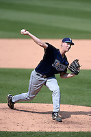 Derek West of Trinity Christian Academy in Orange City, Florida playing for the Tampa Bay Rays scout team during the East Coast Pro Showcase on July 30, 2014 at NBT Bank Stadium in Syracuse, New York.  (Mike Janes/Four Seam Images)
