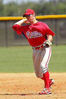 Matthew Payton (28) Infielder for the GCL Phillies during a game on June 26, 2010 against the GCL Yankees at the Yankees Training Complex in Tampa, The GCL Phillies are the Gulf Coast Rookie League affiliate of the Philadelphia Phillies. Payton was selected by the Phillies in the 27th round (831 Overall) of the 2010 MLB First Year Player Draft. Photo By Mark LoMoglio/Four Seam Images