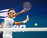 Roger Federer plays at the US Open being played on August  28, 2019 at Billie Jean King National Tennis Center in Flushing, Queens, NY.  ©Jo Becktold