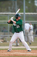 Babson Beavers designated hitter Henry Leake (25) during a game against the Edgewood Eagles on March 18, 2019 at Lee County Player Development Complex in Fort Myers, Florida.  Babson defeated Edgewood 23-7.  (Mike Janes/Four Seam Images)