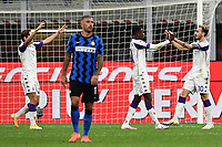 26th September 2020, San Siro Stadium, Milan, Italy; Serie A Football, Inter Milan versus Fiorentina;  Gaetano Castrovilli celebrates scoring for Fiorentina