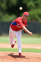GCL Phillies pitcher Jacques De Gruy (71) delivers a pitch before a game against the GCL Pirates on June 26, 2014 at the Carpenter Complex in Clearwater, Florida.  GCL Phillies defeated the GCL Pirates 6-2.  (Mike Janes/Four Seam Images)