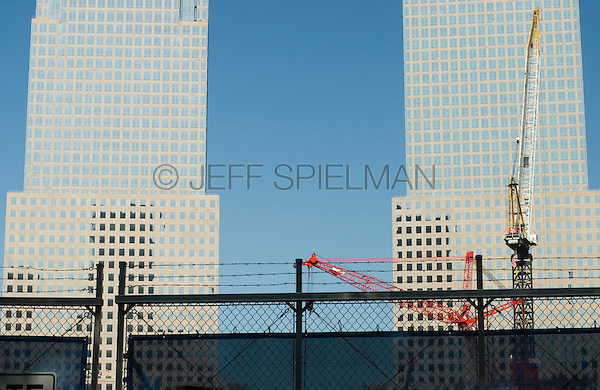 AVAILABLE FROM JEFF AS A FINE ART PRINT.<br /> <br /> AVAILABLE FROM JEFF FOR COMMERCIAL AND EDITORIAL LICENSING.<br /> <br /> Construction at Ground Zero in Lower Manhattan with World Financial Center in the Background, New York City, New York State, USA