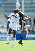 April 11, 2009:  Ryan Johnson of Earthquakes and Bakary Soumare of Fire in action at Buck Shaw Stadium in Santa Clara, California. San Jose Earthquakes and Chicago Fire tied, 3-3