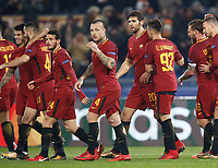 Football Soccer: UEFA Champions League AS Roma vs Qarabag FK Stadio Olimpico Rome, Italy, December 5, 2017. <br /> Roma's Diego Perotti (l) celebrates after scoring with his teammates during the Uefa Champions League football soccer match between AS Roma and Qarabag FK at at Rome's Olympic stadium, December 05, 2017.<br /> UPDATE IMAGES PRESS/Isabella Bonotto