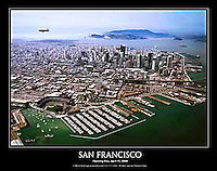 "This 22"" x 28"" aerial poster of San Francisco is a view created on the very first Opening Day, April 11, 2000 at San Francisco's baseball stadium, ATT park, also once known as SBC park and PacBell park, home of the San Francisco Giants. <br />