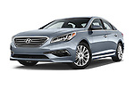 Stock pictures of low aggressive front three quarter view of a 2015 Hyundai Sonata 2.4 Auto Limited 4 Door Sedan