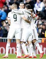 Real Madrid's Karim Benzema, Garet Bale, James Rodriguez and Marcelo Vieira celebrate goal during La Liga match.January 31,2015. (ALTERPHOTOS/Acero) /NortePhoto<br /> /NortePhoto.com