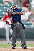 July 22, 2009:  Home Plate Umpire Al Porter during a game at Frontier Field in Rochester, NY.  Photo By Mike Janes/Four Seam Images