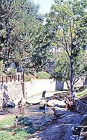 San Luis Obispo CA:  Mission Mall--1969. San Luis Obispo Creek. Richard Taylor.  Photo '85.