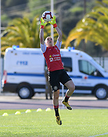 20200310  Lagos , Portugal : Danish goalkeeper Katrine Louise Abel (1) pictured during warming up of the female football game between the national teams of Belgium called the Red Flames and Denmark on the third and last matchday for the 5th or 6th place of the Algarve Cup 2020 , a prestigious friendly womensoccer tournament in Portugal , on tuesday 10 th March 2020 in Lagos , Portugal . PHOTO SPORTPIX.BE | DAVID CATRY