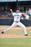 Asheville Tourists pitcher Austin Moore (6) delivers a pitch during a game against the Lexington Legends at McCormick Field on May 25, 2018 in Asheville, North Carolina. The Tourists defeated the Legends 6-4. (Tony Farlow/Four Seam Images)