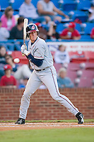 Jared Goedert (12) of the Kinston Indians grimaces as a pitch comes inside at Ernie Shore Field in Winston-Salem, NC, Saturday May 17, 2008.