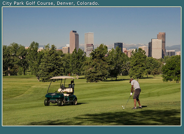 Man golfing at City Park Golf Course in Denver, Colorado. .  John offers private photo tours in Denver, Boulder and throughout Colorado. Year-round Colorado photo tours.
