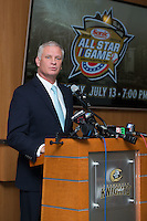 """Dan Rajkowski, Executive Vice President and Chief Operating Officer of the Charlotte Knights, announces the return of the Charlotte Baseball Hall of Fame, which will be called the """"Charlotte Baseball Roundtable of Honor"""", at BB&T Ballpark on February 17, 2016 in Charlotte, North Carolina.  The Triple-A Baseball All-Star game and associated events will take place July 11-13, 2016 at BB&T Ballpark.  (Brian Westerholt/Four Seam Images)"""