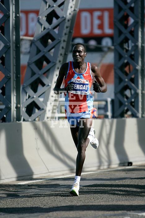 Paul Tergat (KEN) during the 2008 ING New York City Marathon on the Madison Avenue Bridge connecting the Bronx to Manhattan on November 2, 2008 in New York City, New York.  The racers enter Manhattan for the final time as they approach mile 21 on the course.  Gomes Dos Santos (BRA) won the race with a time of 2:0843.