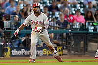 Philadelphia Phillies shortstop Jimmy Rollins #11 leads off third base during the Major League baseball game against the Houston Astros on September 16th, 2012 at Minute Maid Park in Houston, Texas. The Astros defeated the Phillies 7-6. (Andrew Woolley/Four Seam Images).