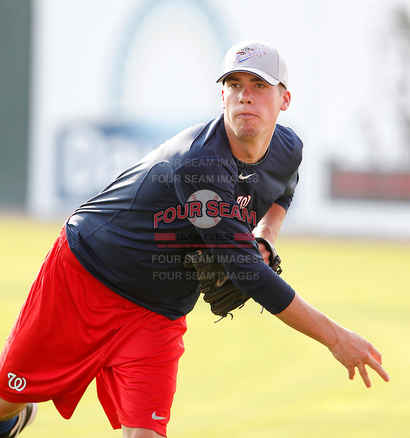 Auburn Doubledays pitcher Alex Meyer throws in the outfield before a game against the Batavia Muckdogs at Dwyer Stadium on September 3, 2011 in Batavia, New York.  Meyer was selected 23rd overall out of Kentucky University.  Auburn defeated Batavia 2-1.  (Mike Janes/Four Seam Images)