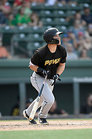 Left fielder Ryan Ramiz (27) of the West Virginia Power bats in a game against the Greenville Drive on Sunday, May 19, 2019, at Fluor Field at the West End in Greenville, South Carolina. Greenville won, 8-4. (Tom Priddy/Four Seam Images)