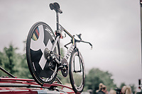 TT World Champion Tony Martin's (DEU/Katusha) backup TT-bike atop the Katusha-Alpecin team car<br /> <br /> 104th Tour de France 2017<br /> Stage 1 (ITT) - Düsseldorf › Düsseldorf (14km)