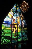 Stain glass window depicting Hawaiian history and culture, chapel of the Grand Wailea hotel, Maui