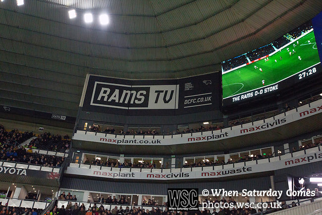 The big screen and corporate boxes pictured during the first-half as Derby County (in white) played Stoke City in an EFL Championship match at Pride Park Stadium. Opened in 1997, it is the 16th-largest football ground in England and the 20th-largest stadium in the United Kingdom. The fixture ended in a 0-0 draw watched by a crowd of 25,685.