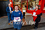 Marissa Hanley from Causeway Comprehensive School, winner of the Kerry Education and Training Board's annual Christmas Card Competition, receiving her prize of a Tablet at Hugh Cullotys on Wednesday. Front: Marissa Hanley. L to r: Brendan Culloty (Hugh Cullotys), Catherine Lyons (ETB), Caroline Fitzgibbon (Causeway Comprehensive)