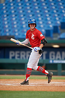 Payton Allen (12) of Bentonville High School in Rogers, AR during the Perfect Game National Showcase at Hoover Metropolitan Stadium on June 20, 2020 in Hoover, Alabama. (Mike Janes/Four Seam Images)