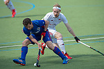 GER - Mannheim, Germany, April 15: During the field hockey 1. Bundesliga match between Mannheimer HC (blue) and Rot-Weiss Koeln (white) on April 15, 2018 at Am Neckarkanal in Mannheim, Germany. Final score 2-2. (Photo by Dirk Markgraf / www.265-images.com) *** Local caption *** Christopher Ruehr #17 of Rot-Weiss Koeln