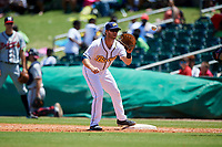 Montgomery Biscuits first baseman Grant Kay (6) waits to receive a throw during a game against the Mississippi Braves on April 25, 2017 at Montgomery Riverwalk Stadium in Montgomery, Alabama.  Mississippi defeated Montgomery 3-2.  (Mike Janes/Four Seam Images)