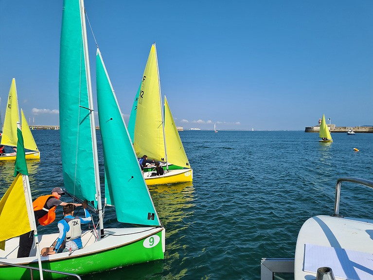 The Elmo Trophy is being raced in Firefly dinghies at Dun Laoghaire Harbour