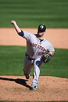 Glendale Desert Dogs pitcher Keegan Yuhl (58) delivers a pitch during an Arizona Fall League game against the Surprise Saguaros on October 23, 2015 at Salt River Fields at Talking Stick in Scottsdale, Arizona.  Glendale defeated Surprise 9-6.  (Mike Janes/Four Seam Images)