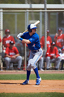 Toronto Blue Jays Tanner Kirwer (33) bats during an exhibition game against the Canada Junior National Team on March 8, 2020 at Baseball City in St. Petersburg, Florida.  (Mike Janes/Four Seam Images)