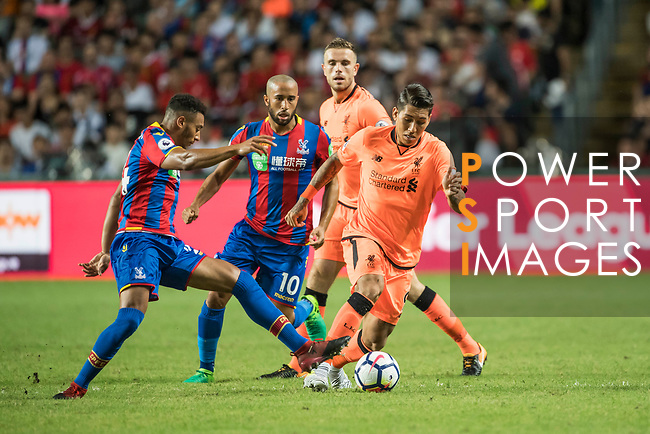 Liverpool FC forward Roberto Firmino (R) fights for the ball with Crystal Palace forward Keshi Anderson (L) during the Premier League Asia Trophy match between Liverpool FC and Crystal Palace FC at Hong Kong Stadium on 19 July 2017, in Hong Kong, China. Photo by Weixiang Lim / Power Sport Images