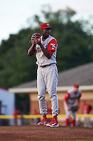 Williamsport Crosscutters pitcher Franklyn Kilome (44) gets ready to deliver a pitch during a game against the Batavia Muckdogs on August 27, 2015 at Dwyer Stadium in Batavia, New York.  Batavia defeated Williamsport 3-2.  (Mike Janes/Four Seam Images)