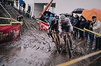 CX World Champion Mathieu Van Der Poel (NED/Correndon-Circus) brushing along Quinten Hermans (BEL/Telenet Fidea Lions)<br /> <br /> Superprestige cyclocross Hoogstraten 2019 (BEL)<br /> Elite Men's Race<br /> <br /> ©kramon