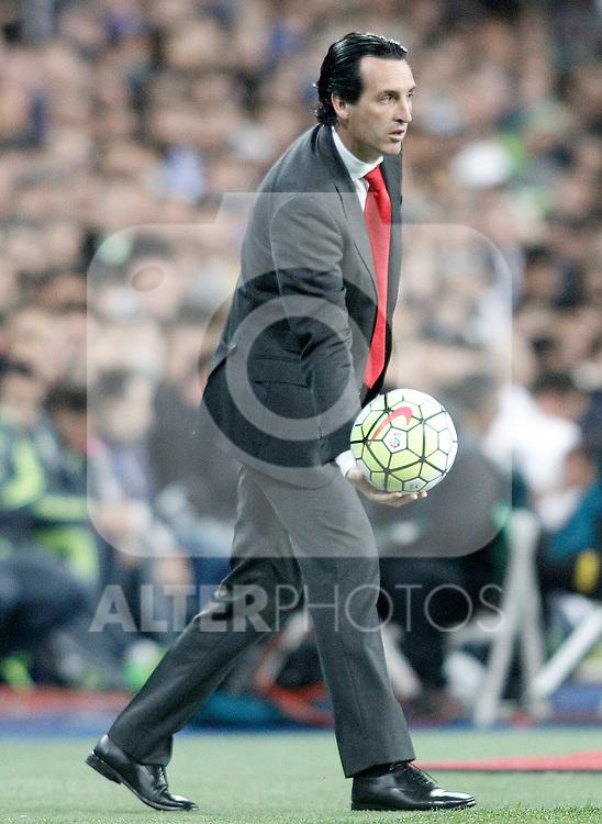 Sevilla's coach Unay Emery during La Liga match. March 20,2016. (ALTERPHOTOS/Acero)