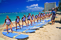 Girls on vacation get surfing lessons from a qualified instructor on waikiki beach,Oahu.